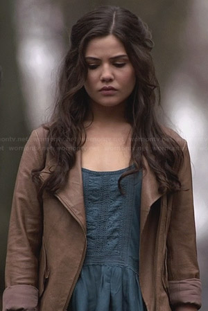 Davina's blue lace trim top and tan leather jacket on The Originals