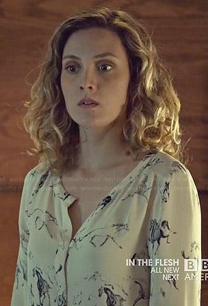 Delphine's horse print blouse on Orphan Black
