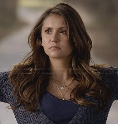 Elena's blue chunky knit cardigan and layered necklace on The Vampire Diaries