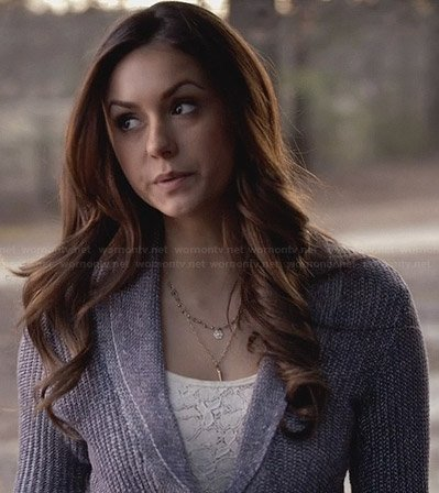 Elena's purple shawl collar cardigan on The Vampire Diaries
