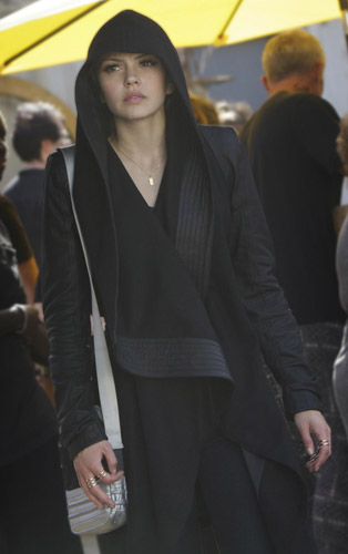 Emery's black hooded leather sleeve coat (borrowed from Sofia) on Star-Crossed