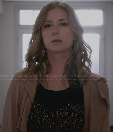 Emily's black lace panel dress and silk coat on Revenge