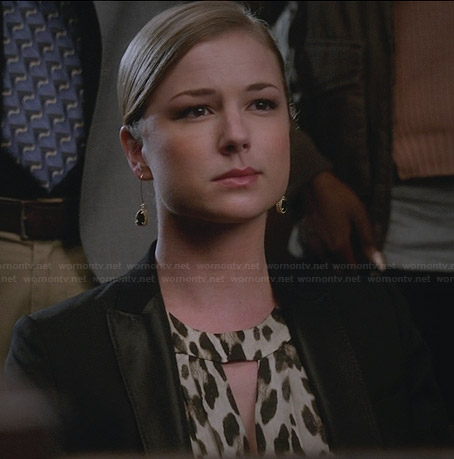 Emily's leopard print maxi dress and black blazer on Revenge