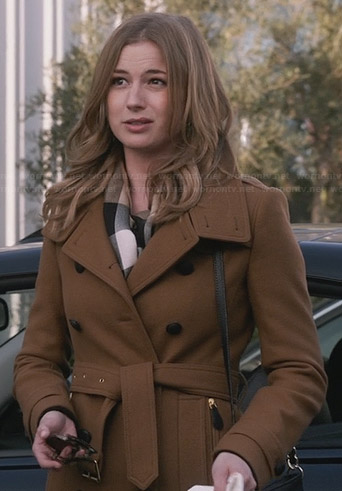 Emily's tan wool trench coat with zip pockets on Revenge