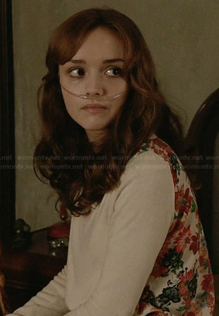 Emma's floral back sweater on Bates Motel