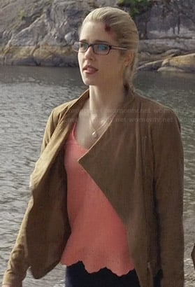 Felicity's coral top and tan suede jacket on Arrow