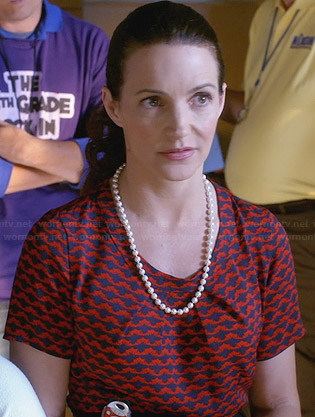 Ginny's red and navy bug printed top on Bad Teacher