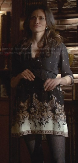 Hayley's black printed shirtdress on The Originals