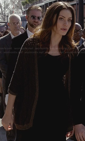 Haley's brown crochet cardigan on The Originals