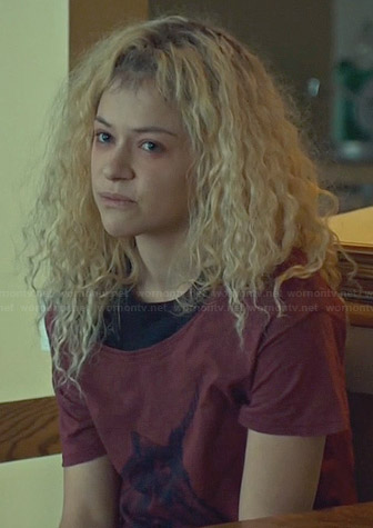Helena's red unicorn tee on Orphan Black