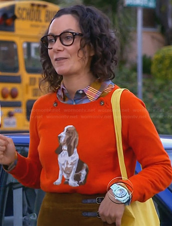 Irene's orange dog print sweater on Bad Teacher