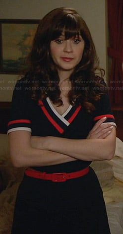 Jess's blue v-neck dress with red and white trim on New Girl