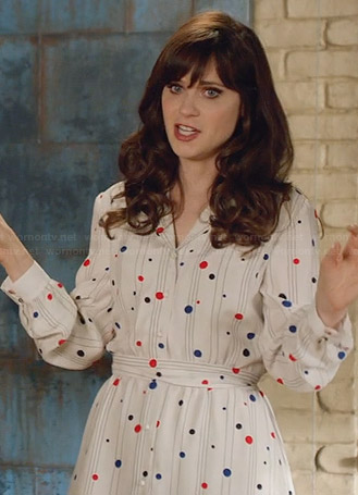 Jess's white polka dot long sleeve dress on New Girl