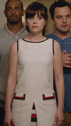 Jess's white dress with red and blue trim on New Girl