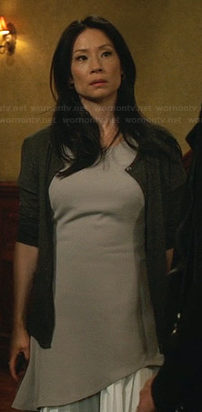 Joan's light grey asymmetrical layered dress on Elementary
