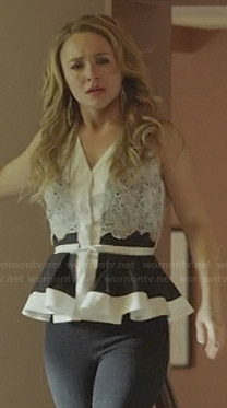 Juliette's black and white lace peplum top on Nashville