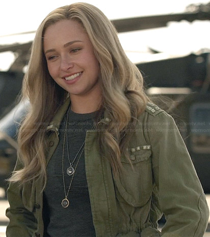 Juliette's green studded cargo jacket on Nashville