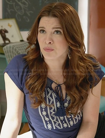 Karma's blue and white embroidered peasant top on Faking It