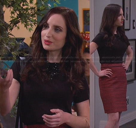 Kate's black embellished top and red tweed skirt on Friends with Better Lives