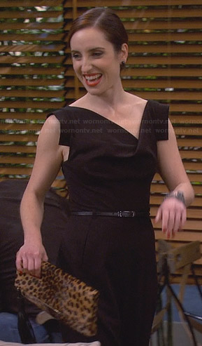 Kate's black jumpsuit and leopard print clutch on Friends with Better Lives
