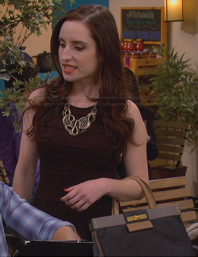 Kate's black piped dress and colorblock bag on Friends with Better Lives