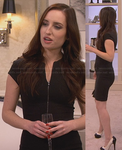 Kate's black zip front dress and two tone heels on Friends with Better Lives