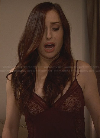 Kate's burgundy lace panel chemise on Friends with Better Lives