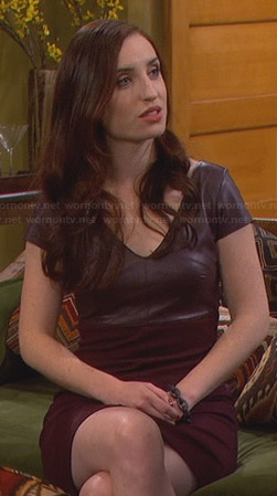 Kate's burgundy leather v-neck dress on Friends with Better Lives