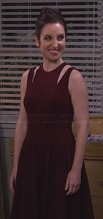 Kate's burgundy shoulder cutout dress on Friends with Better Lives