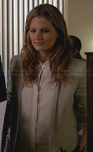 Kate's white front panel blouse and grey blazer on Castle