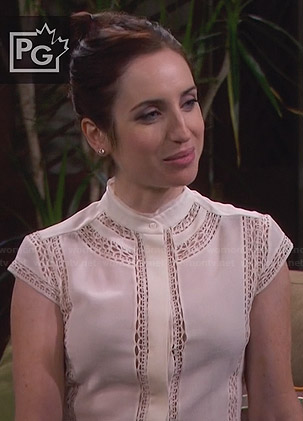 Kate's white cap sleeved lace inset top on Friends with Better Lives