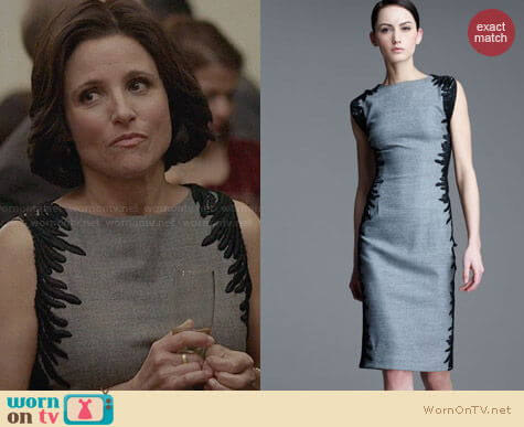 Lela Rose Flutterlace Sheath Dress worn by Julia Louis Dreyfus on Veep