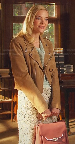 Lemon's blue sweater, embellished skirt and suede moto jacket on Hart of Dixie