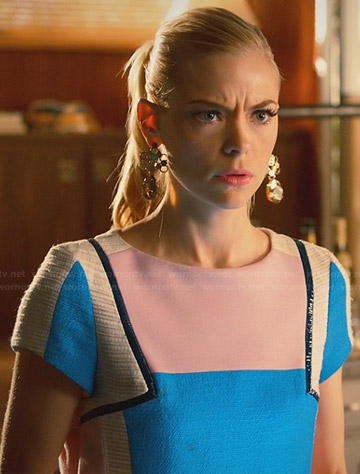 Lemon's pink and blue colorblock dress with leather trim on Hart of Dixie