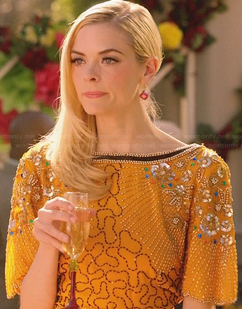 Lemon's yellow embellished dress with gathered side on Hart of Dixie