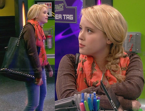 Lennox's brown lace panel shirt, orange leopard print scarf and studded tote bag on Melissa and Joey