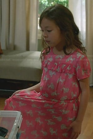 Lily's pink poodle print dress on Modern Family