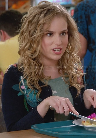 Lisa's navy floral applique cardigan on Suburgatory
