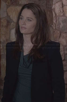 Lisbon's green cowl neck top and black collarless blazer on The Mentalist
