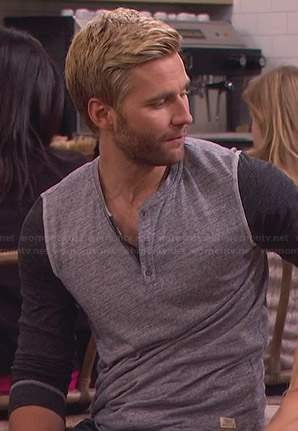Lowell's grey contrast sleeve henley tee on Friends with Better Lives