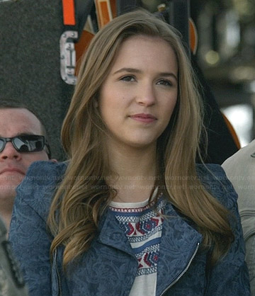 Maddie's embroidered top and blue printed jacket on Nashville