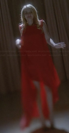 Madison's red ruffled high-low dress on American Horror Story