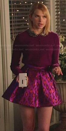 Magnolia's purple cardigan with embellished peter pan collar and metallic leopard print skirt on Hart of Dixie