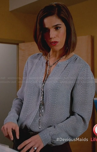 Marisol's grey snake printed blouse on Devious Maids