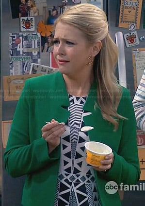 Mel's black and white embroidered dress and green jacket on Melissa and Joey