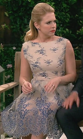 Mel's cream and blue lace dress on Melissa and Joey
