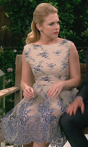 Melissa's cream and blue lace dress on Melissa and Joey