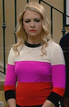 Melissa's orange, pink and cream colorblock sweater on Melissa and Joey