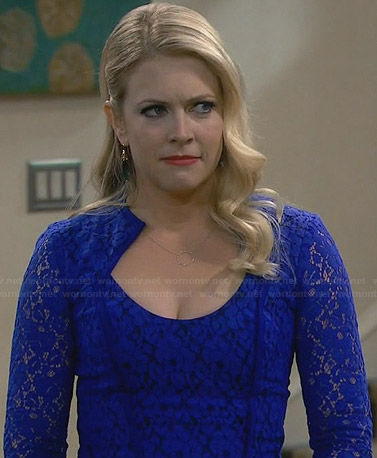 Mel's blue long sleeved lace dress on Melissa and Joey