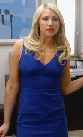 Meredith's blue v-neck dress with back cutouts on Bad Teacher